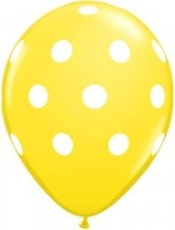 Party Time Celebrations - Yellow and White Polka Dot Spot Balloons, $5.95 (http://www.partytimecelebrations.com.au/yellow-and-white-polka-dot-spot-balloons/)