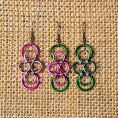 """Pink & Green Infinity Chain Maille Earrings on Surgical Steel,LIMITED EDITION, 1-1/2"""" long,Asst Anodized Aluminum Silver Rocker Retro #C207+  https://www.etsy.com/listing/468856538/pink-green-infinity-chain-maille"""