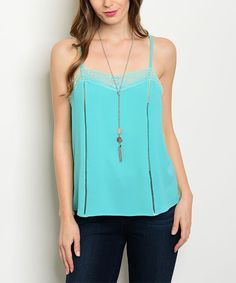 Jade Lace-Accent Tank