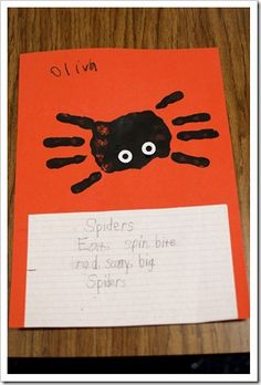 """After we created our list, I had the kids make a """"Spider Sandwich"""" poem using 3 verbs and 3 adjectives that are """"sandwiched"""" between the word SPIDER.  After writing their poems, I painted their hands to make little handprint spiders.  I LOVE handprint art!!!  And I used reinforcement stickies for the eyes."""