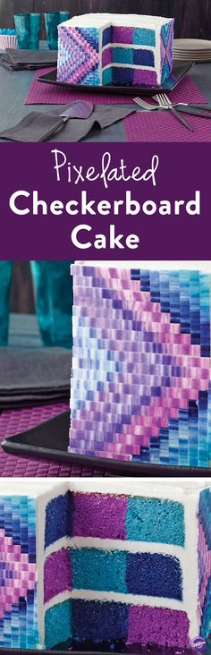 How to Make Pixelated Checkerboard Cake - Decorate this popular pixelated cake design for your next party, special event, or simply to show how cool you are! It's easy to create using the Wilton All Occasion Checkerboard Square Cake Pan Set, the Color Right Performance Color System, Decorator Preferred Fondant and three cake mixes!