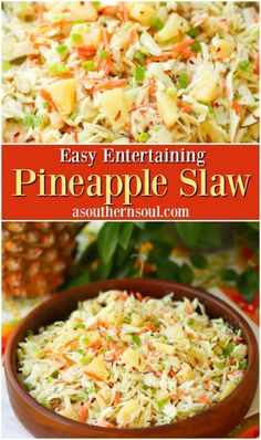 Side dish recipes 490048003203483828 - Pineapple Slaw is made with pineapple chunks, bagged cabbage, sliced almonds and green onions with a light, sweet dressing is a side dish that is great for any occasion! Pineapple Coleslaw, Pineapple Recipes, Sweet Coleslaw Recipe With Pineapple, Hawaiian Food Recipes, Hawaiian Coleslaw, Hawaiian Macaroni Salad, Pineapple Juice, Beef Recipes, Cooking Recipes