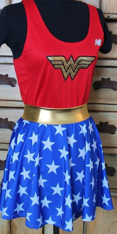 Complete Wonder Woman Running outfit tank singlet skirt Muffin top free wonder woman boston marathon patriotic xs s m l xl 2xl