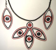 quilled set with pendant and earrings. all eyes :) varnished.