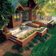 How to build a shed diy floating deck 67 trendy ideas Low Deck Designs, Pergola Designs, Patio Design, Backyard Deck Designs, Deck Planter Boxes, Deck Planters, Pergola Patio, Backyard Patio, Backyard Landscaping