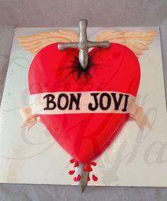 'Bon Jovi' themed cake. 3D sculpted caramel med cake w/- white chocolate ganache & hand crafted fondant details.