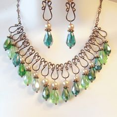 Wire Work Bib Necklace Set - Green Teardrop Crystals - Champagne Glass Pearls - Bronze Wirework - Emerald - Lime Green - Teal