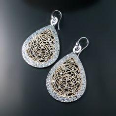 Big Sparkly Teardrop Statement Earrings Modern sterling silver jewelry