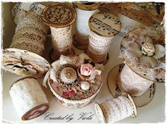 Lace Winding Spools: No instructions but I think you could use cardboard tubes, round cardstock, and embellishments. Decorative and organized.