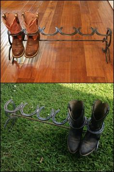 Organize your boot collection with this clever boot rack made from horseshoes!