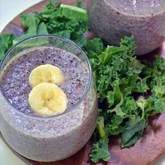 Berry Berry Kale Smoothie: ½ cup Greek yogurt: 1½ cup milk, 1½ cup frozen mixed berries, 1 banana, 2 handfuls kale