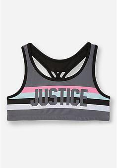 Justice Stripe Sports Bra