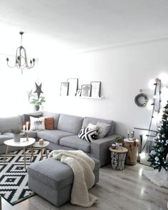 Gray And White Living Room   I Like This Couch! And The Floating Shelf  Above It