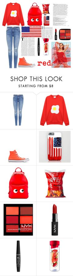 """""""red"""" by azaleamorris ❤ liked on Polyvore featuring Frame, McIndoe Design, Converse, Anya Hindmarch, Williams-Sonoma, NYX, Balmain and AdNArt"""