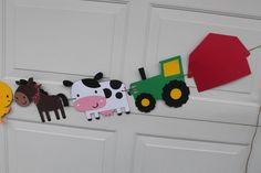Large tractor farm animal banner western country farm birthday party banner photoshoot prop by pinktreepapers on Etsy https://www.etsy.com/listing/168288121/large-tractor-farm-animal-banner-western