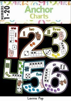 "Number Anchor Charts (0-20)  UPDATED: February 15th, 2016 to include a different variation for number 1 (""I"" straight line down)  This unit contains 3 sets of anchor charts for numbers 0-20: - black and white version - colored version - colored version with a chalkboard background"