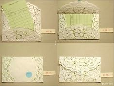 Doily Envelope: (1) Fold in sides, then bottom flap  (2) Fold down top flap and seal with a kiss sticker/wax stamp (3) Turn card over and address