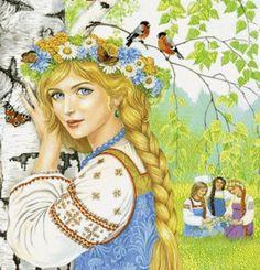 Снегурочка Russian Folk Art, Ukrainian Art, Illustrations, Illustration Art, Renaissance Jewelry, Fairytale Art, Animation, Arte Pop, Belle Photo