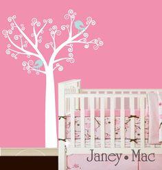 $78 Vinyl Wall Decal Tree Swirl Curl Tree with Birds Nursery Children's Bedroom Whimsical Vinyl Wall Art Sticker Decal