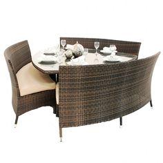 Superb Awesome Rattan Dining Set Creative Triangular Bench Dining Set Design