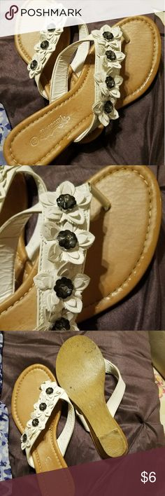 Sandals with lovely flowers design Cute,  white sandals with floral design,  can go with almost any summer dress Shoes Sandals