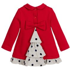 Lapin House - Red Bear Dress with Spotty Ruffles & Bow | Childrensalon