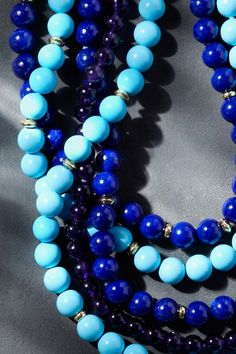 More beads, more blues, more layers.