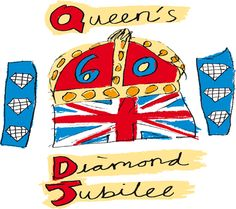 Watch and celebrate the Queen's Diamond Jubilee with friends and family by hosting a viewing party, street party, or British / Union Jack theme party in honor of Queen Elizabeth II's 60 years on the throne Trinidad, God Save The Queen, Pop Art, Quentin Blake, Illustrations, London Calling, 10 Year Old, Union Jack, Queen Elizabeth Ii