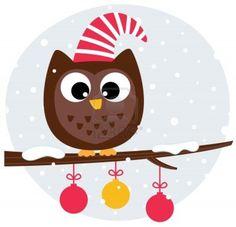 """""""Winter cartoon Owl in santa hat."""" Photographer: Jana Guothova / #Lordalea #123rf #Illustration"""
