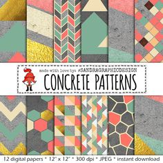"""New to SandraGraphicDesign on Etsy: Digital paper: """"CONCRETE PATTERNS"""" with modern geometric patterns on concrete texture in pastel colors and gold (1166) (3.75 USD)"""