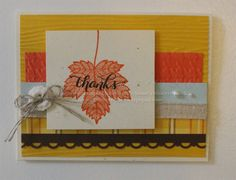 Greeting Card Thanks Handmade Fall Leaves Autumn Thank You Thanksgiving Hand Stamped in Blue Brown Orange Yellow by Rubberredneck on Etsy