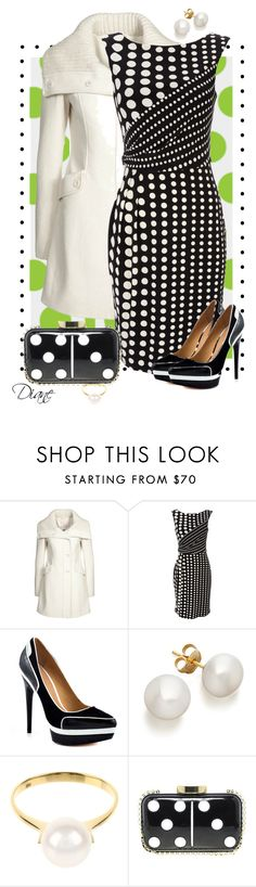 """""""Domino"""" by diane-hansen ❤ liked on Polyvore featuring Wallis, L.A.M.B., Saskia Diez, Lulu Guinness, black and white, polka dots, leather clutch, white coat, pearl jewelry and polka dot dress"""