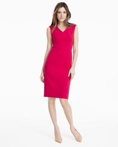 """Designed with a close yet comfortable fit that moves with you, our rosey sheath dress is finished off with ultra-flattering seams. A casually chic choice with a denim jacket, a printed scarf and our coveted Olivia pumps.    Rosey seamed sheath dress  V-neck; slimming seam detail; hidden back zip; back slit Lined Regular: Approx. 41"""" from shoulder; 1"""" below the knee  Petite: Approx. 37 ½"""" from shoulder Polyester/rayon/spandex. Machine wash cold. Imported"""