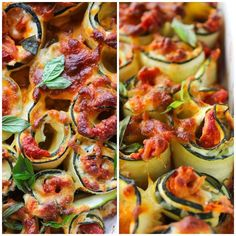Vegetarian Zucchini Lasagna Rolls filled with spinach, ricotta, and a chunky homemade marinara sauce. Gluten free, Grain Free, Low Carb