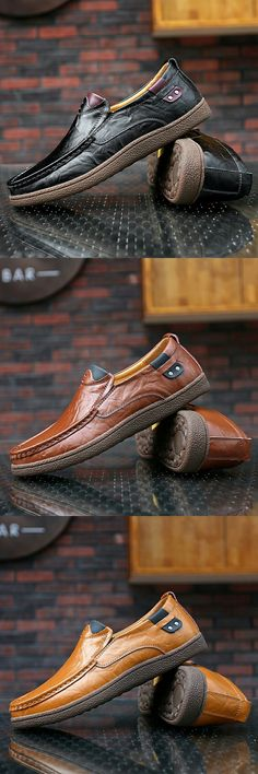 huge selection of 0965e 308c6 US 28.6 Vintage Luxury Handmade Shoes Men Casual Genuine Leather Loafers  Slip On Formal Rubber Outsole