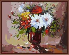 """вАлмазе RU - арт.14696 Раскраска по номерам """"Цветы в вазоне"""" [размер 40*50 см.] - 1500 руб. - под заказ"""
