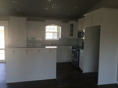 Painted cabinets. Sherwin Williams snowbound white. Hinkle Homes