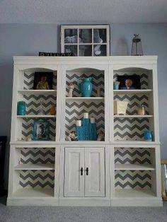 Add design to a plain bookshelf