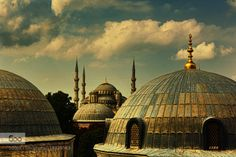 The domes by shushulb  Domes Gorgeous Istanbul Turkey beautiful blue city clouds landscape nikon photography sky travel The