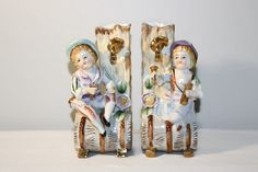 Pair of Porcelain Bud Vases Boy and Girl by SeacoastVintage