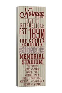 University of Oklahoma School Pride Canvas Wall Art by Campus Pride: Claim Your University on @HauteLook