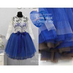 Royal Blue Ombr Tulle Skirt 7 Layers Super Puff 100 Exclusive Handmade... ($120) ❤ liked on Polyvore featuring grey, skirts, women's clothing and sash belt