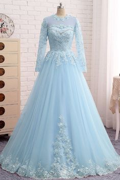 long prom dresses - IceBlue Lace Tulle Long Sleeve Beaded Formal Prom Dress, Plus Size Dress Spring Formal Dresses, Best Formal Dresses, Unique Prom Dresses, Wedding Dresses Plus Size, Prom Dresses Blue, Pretty Dresses, Bridal Dresses, Beautiful Dresses, Evening Dresses