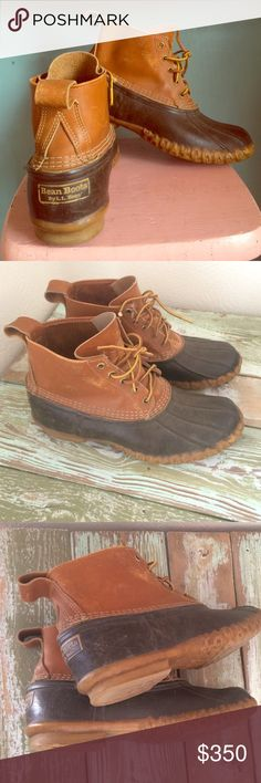 Vintage LL BEAN boots leather / rubber size 9 mens BEAN BOOTS by LL BEAN . Authentic vintage.rare & almost extinct ! Very popular in the lumberjack chic crowd. L.L. Bean Shoes Winter & Rain Boots