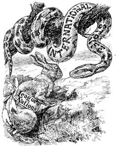 """Punch Cartoon, 1920 (satirizing the perceived weaknesses of the League of Nations): Moral Suasion. The Rabbit. """"My offensive equipment being practically nil, it remains for me to fascinate him with the power of my eye. World History Teaching, World History Lessons, History Teachers, Us History, History Projects, History Cartoon, History Memes, International Conflict, International Relations"""