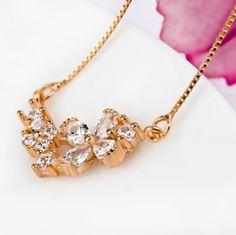 Rose Gold on Silver Flower Necklet - Necklaces & Necklets - Pendants & Necklaces - See more stunning designs at Affici.com