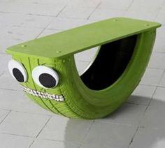 Balanço feito em pneu reciclado