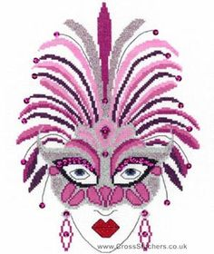 0 point de croix femme art deco et masque de plumes roses  - cross stitch art deco lady and mask of pink feathers
