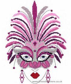 0 point de croix femme art deco et masque de plumes roses  - cross stitch art deco lady and mask of pink feathers