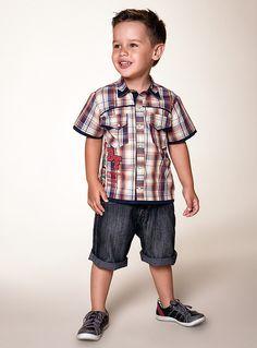 Camisa com Bermuda Jeans  Diforini Cintura ajustável